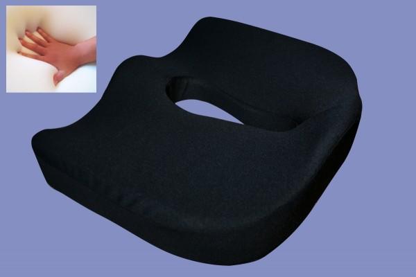 Orthopädisches Gel Gelschaum Sitzkissen Hämorriden Steißbeinkissen coccyx schwarz für Bürostuhl /Rollstuhl 44x38x12 cm