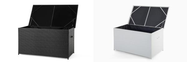 Rattan Gartenmöbel Kissenbox 160 cm Rattanbox weiss oder braun Auflagentruhe für Kissen, Polster + Auflagen