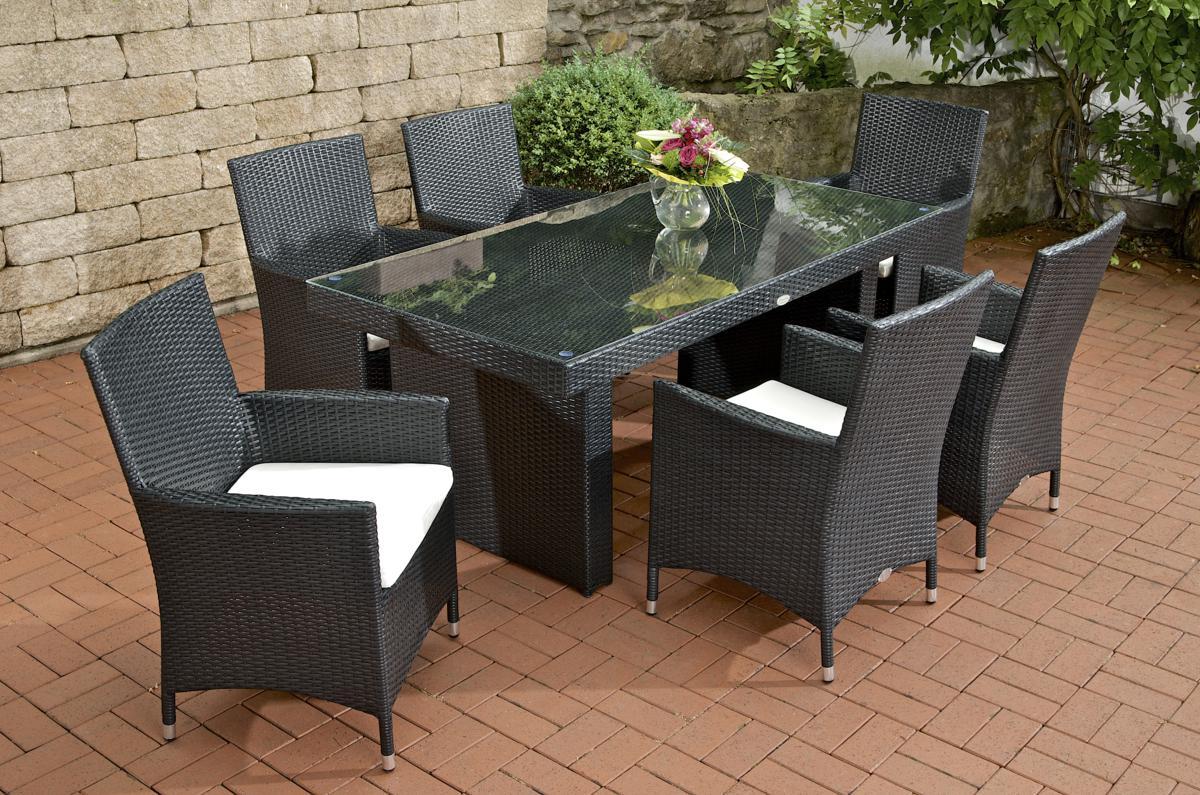 Rattan Gartenmobel Set Mit 6 Stuhlen Schwarz Esstisch Gartentisch