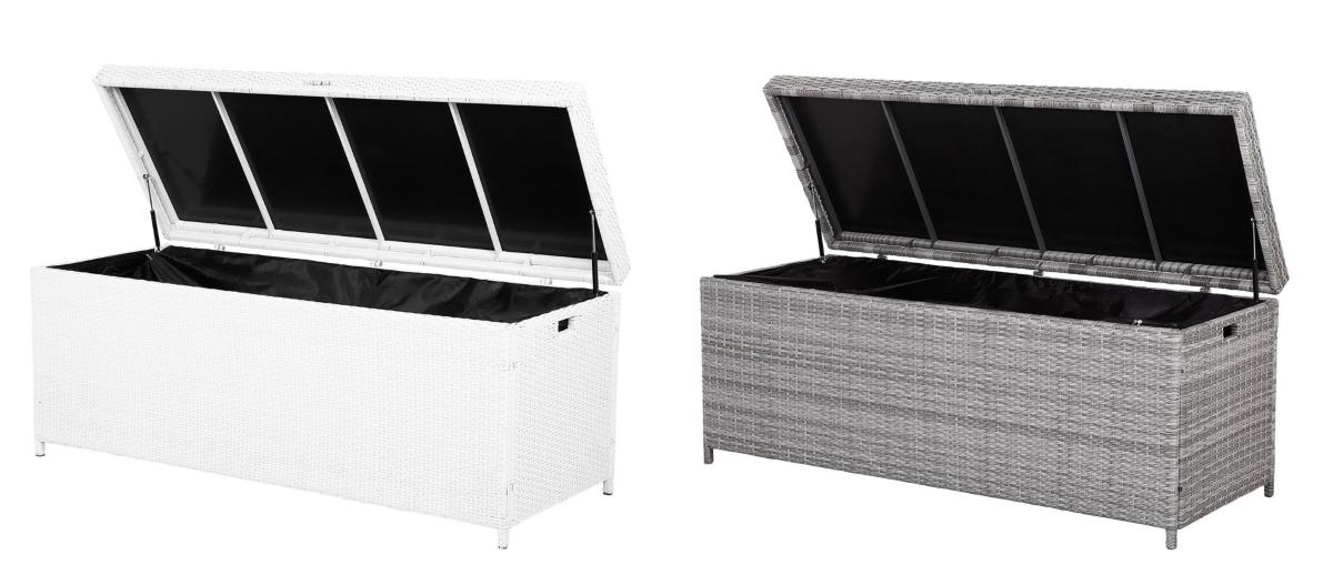 rattan gartenbox kissenbox rattanbox rattantruhe auflagentruhe farbe wei grau supply24