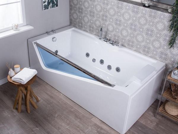 Whirlpool Badewanne Rimini 180x90 cm mit 6 Massage Düsen LED Beleuchtung Glasfront Luxus Spa für Bad günstig
