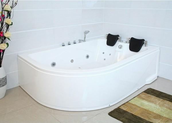 XXL Whirlpool Badewanne Bali RECHTS 180x120 cm mit 14 Massage Düsen mit Armaturen Luxus Spa für Bad