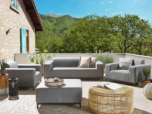 """Lounge Gartenmöbel Set """"Rhodos"""" XXL Sitzgruppe Gartenlounge Sofa für Garten Terrasse Balkon Loungemöbel GRAU + SCHWARZ"""