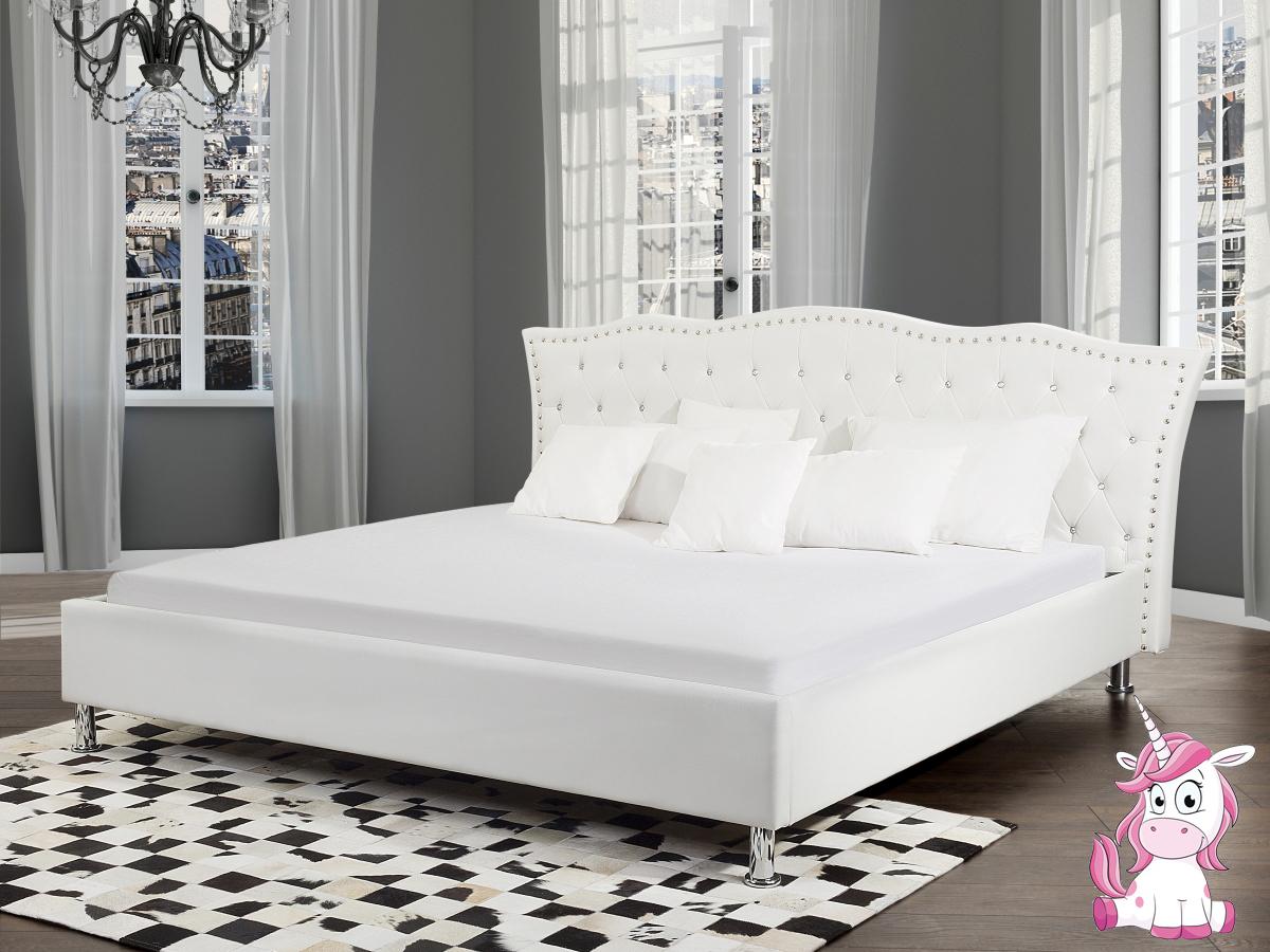 barock lederbett leder polsterbett einhorn bett weiss mit strasssteine supply24. Black Bedroom Furniture Sets. Home Design Ideas