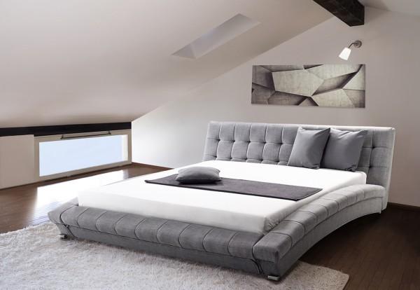 """Designer Stoff Bett """"Miami"""" Stoffbett grau Polsterbett mit Lattenrost / Lattenrahmen günstig"""