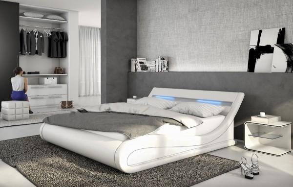 """Designer Lederbett Polsterbett """"Bellini"""" mit LED + Lattenrost Lattenrahmen weiss oder schwarz Leder Bett wellenförmig"""