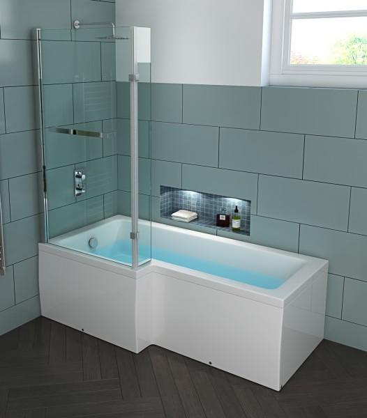 Badewanne Edinburgh mit Glas Duschkabine LINKS 170x85 cm Wanne mit Duschabtrennung für Bad innen