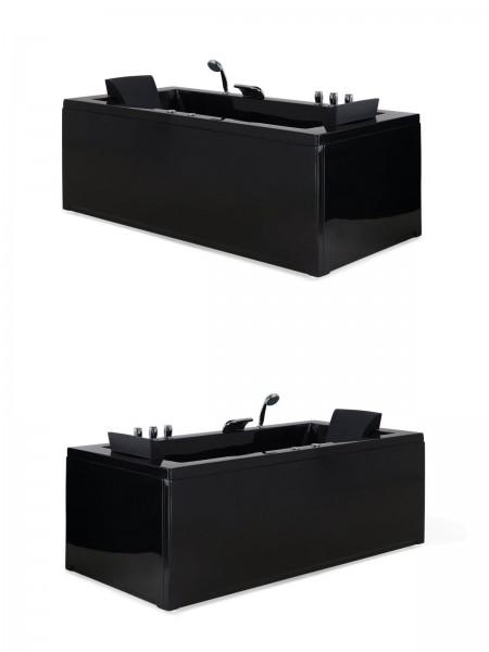 Whirlpool Badewanne Nizza schwarz 183x90 cm Eckwanne links + rechts mit 6 Massage Düsen + LED Spa für Bad innen