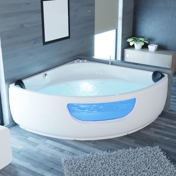 Whirlpool Badewanne Portland 135x135 oder 150x150 cm mit 8 Massage Düsen mit LED + Armaturen Luxus Spa Eckwanne für 2 Personen