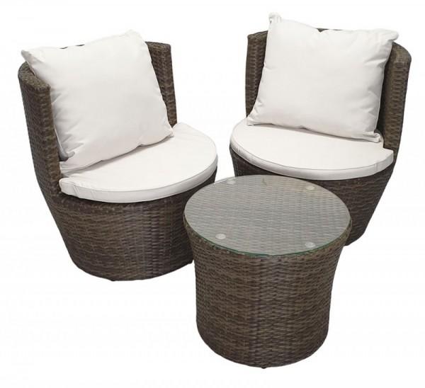 Rattan Gartenmöbel Set Cari Sessel inkl. Tisch Rattanmöbel für Garten Terrasse Balkon Sitzgarnitur braun / weiss Rattanset