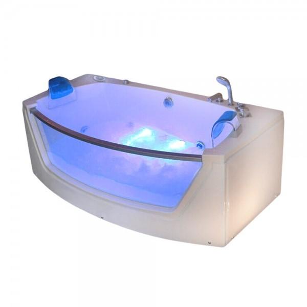 Whirlpool Badewanne Alicante 175x85 cm mit 15 Massage Düsen mit Heizung + Glas + Ozon + LED Luxus Spa für Bad günstig