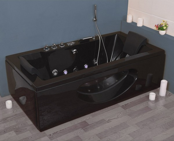 Whirlpool Badewanne Samurai Profi SCHWARZ mit 26 Massage Düsen + Heizung + Ozon + Glas + LED Luxus Spa für Bad günstig