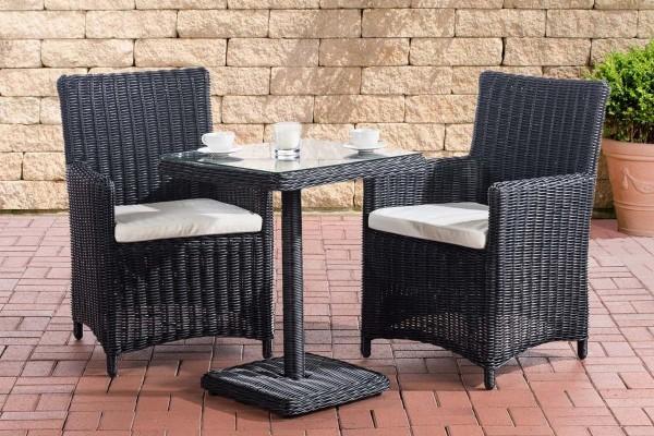 Rattan Gartenmöbel 2er Set Malmö schwarz erweiterbar kompakte Sitzgarnitur Tisch mit 2x Stuhl kleine Sitzgruppe für Terrasse Garten Balkon