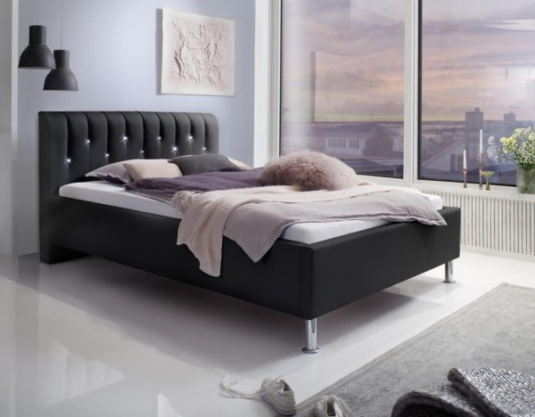 "Luxus Designer Lederbett / Polsterbett ""Rimini"" Leder Bett schwarz mit Swarovski®-Kristallen im Kopfteil Doppelbett"