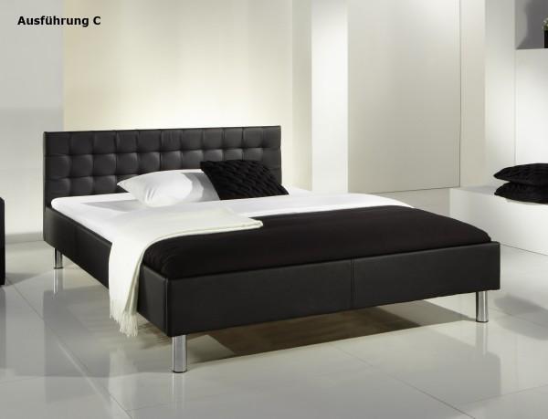 "Lederbett ""Style"" 140x200 cm Jugendbett schwarz Bett günstig"