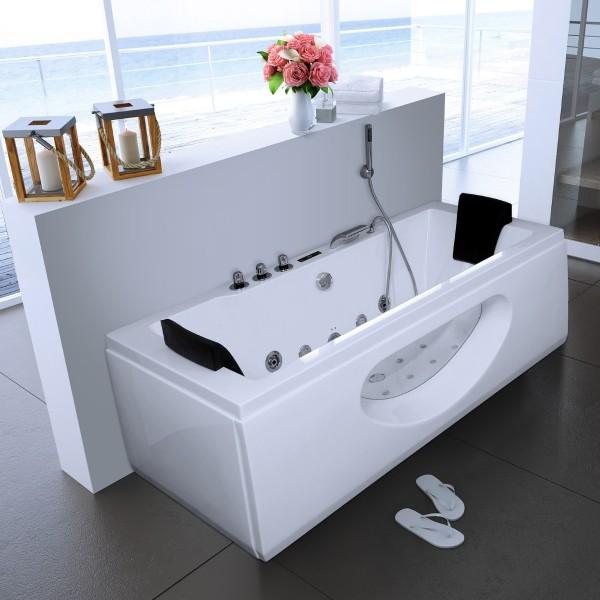 Whirlpool Badewanne Samurai Profi WEISS mit 26 Massage Düsen + Heizung + Ozon + Glas + LED Luxus Spa für Bad günstig