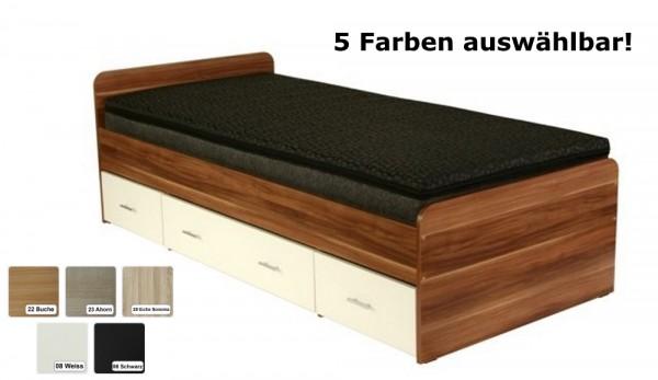 """Futon Bett """"Rom"""" Futonbett Holzbett Farbe Schwarz, Weiss, Buche, Sonoma Eiche oder Ahorn"""