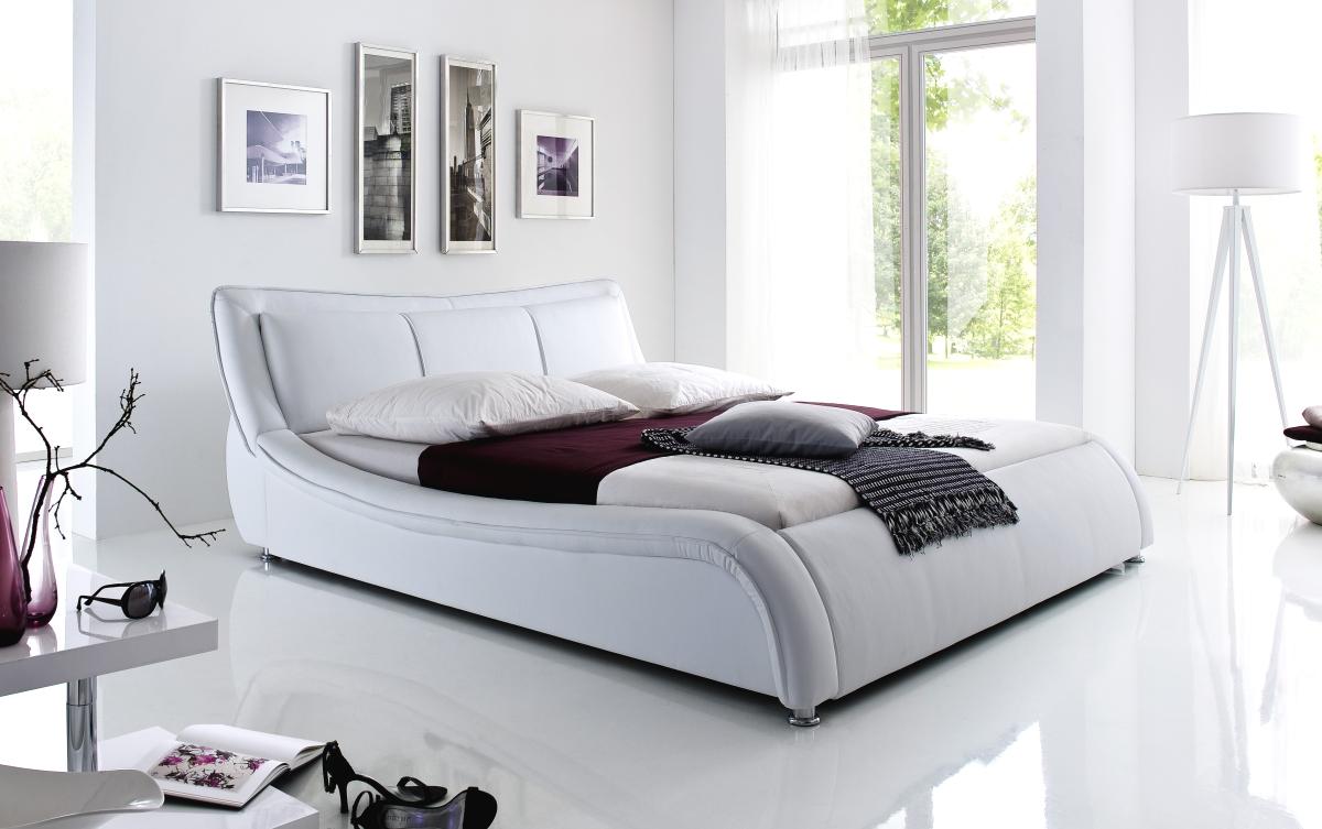 designer lederbett polsterbett weiss od schwarz wellenf rmiges design supply24. Black Bedroom Furniture Sets. Home Design Ideas