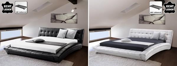 "Designer ECHTLEDER Bett echtes Lederbett ""Miami"" schwarz oder weiss Polsterbett mit Lattenrost"