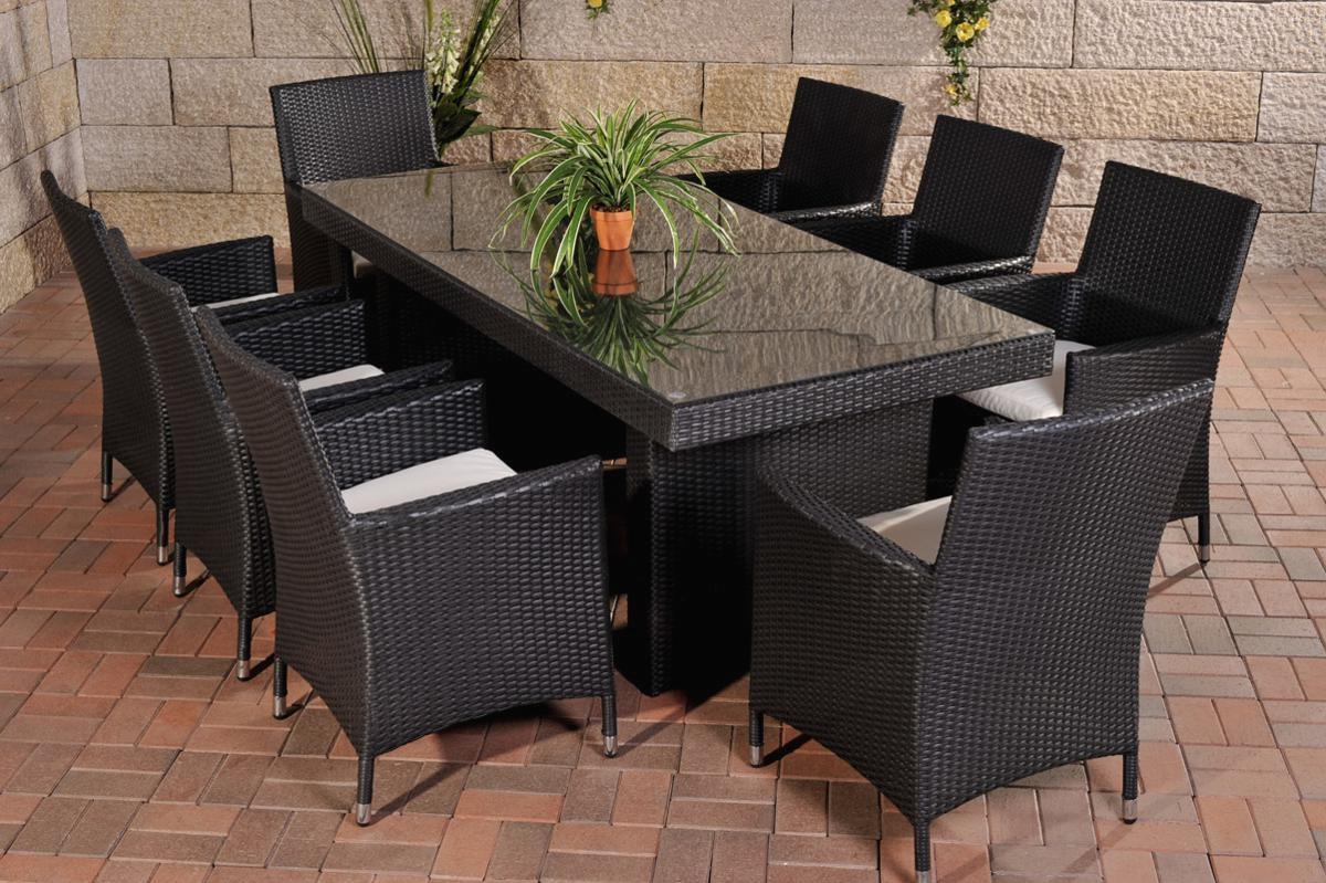 Rattan Gartenmöbel Set Atlanta Schwarz Sitzgarnitur Tisch Mit 8 X Stuhl Gartentisch 200 Cm Für Terrasse Garte Balkon N