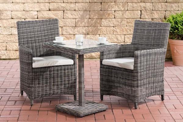 Rattan Gartenmöbel 2er Set Malmö grau meliert erweiterbar kompakte Sitzgarnitur Tisch mit 2x Stuhl kleine Sitzgruppe für Terrasse Garten Balkon
