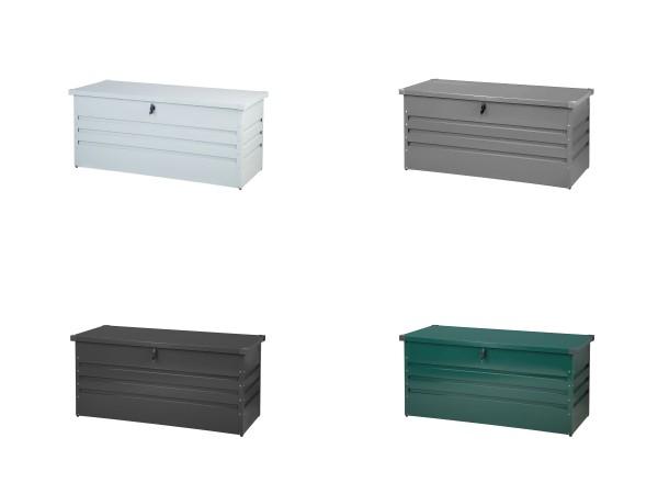 Outdoor Stahlbox 132 cm Kissenbox 400 Liter Auflagentruhe weiß grau anthrazit grün Box Aufbewahrungskiste für Kissen Polster Auflagen Werkzeug