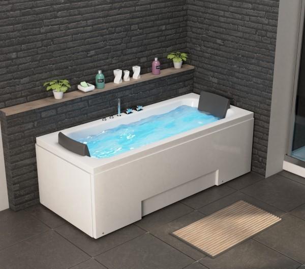 Whirlpool Badewanne Island 170x75x60 cm mit 8 Massage Düsen mit LED + Armaturen Luxus Spa Eckwanne für 2 Personen günstig