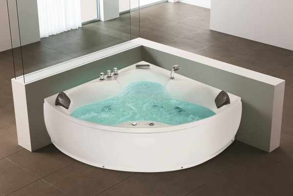 Whirlpool edge bath tub monaco 12 massage jets led waterfall jakuzzi for - Baignoire angle 130x130 ...