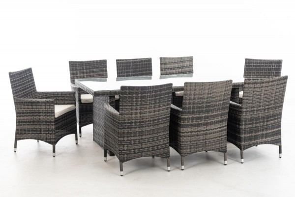 """Rattan Gartenmöbel Set """"Atlanta"""" grau meliert Sitzgarnitur Tisch mit 8 x Stuhl + Gartentisch 200 cm für Terrasse Garten Balkon"""