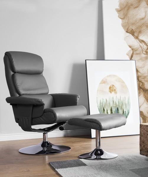 """Massagesessel """"Lyon"""" TV Leder Sessel grau mit Heizung und Hocker! Luxus Fernsehsessel günstig"""