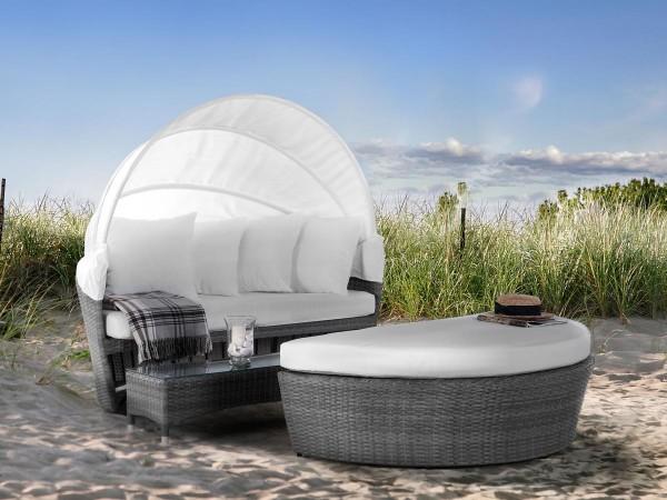 """Rattan Strandkorb """"St. Tropez Delúxe"""" Strandmuschel Gartenmöbel für Garten Terrasse Balkon Lounge Sitzcouch Liege GRAU"""