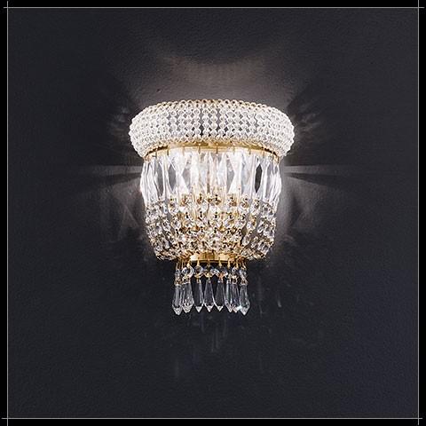 Luxus Kristall Wandleuchte Osaka rund 24K Gold exklusive Barock Lampe für Wand Treppenhaus