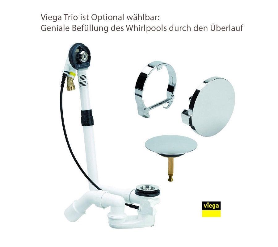 xl whirlpool doppel badewanne mit bef llung ber berlauf ozon heizung. Black Bedroom Furniture Sets. Home Design Ideas