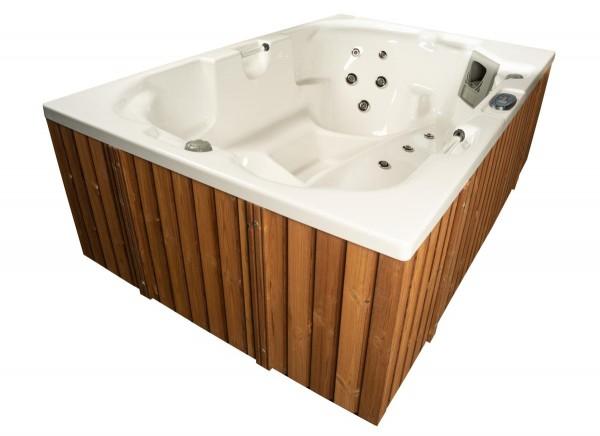 Outdoor Whirlpool Hot Tub Spa Monaco MADE IN GERMANY weiss + hellbraun mit 24 Massage Düsen + Heizung + Ozon für 3 Personen