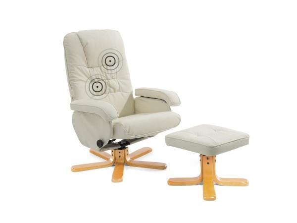"Massagesessel ""Basel"" TV Leder Sessel creme weiss mit Hocker! Schöner günstiger Fernsehsessel"