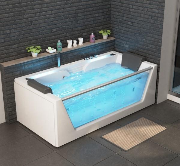 Whirlpool Badewanne Korfu 179x85x59 cm mit 14 Massage Düsen mit Heizung + Ozon + LED Bachlauf  + Radio Luxus Spa für Bad günstig