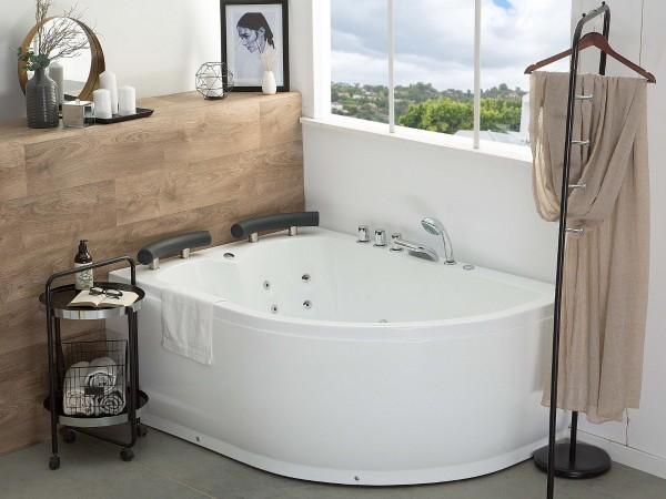 Whirlpool Doppel Badewanne Palermo LINKS weiss 159x113 cm für 2 Personen mit 15 Massage Düsen + LED große Luxus Eckwanne