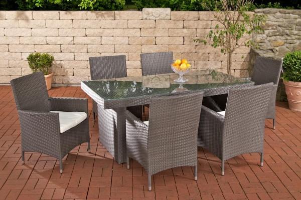 """Rattan Gartenmöbel Set """"Atlanta"""" grau Sitzgarnitur Tisch mit 6 x Stuhl + Gartentisch 180 cm für Terrasse + Garten"""