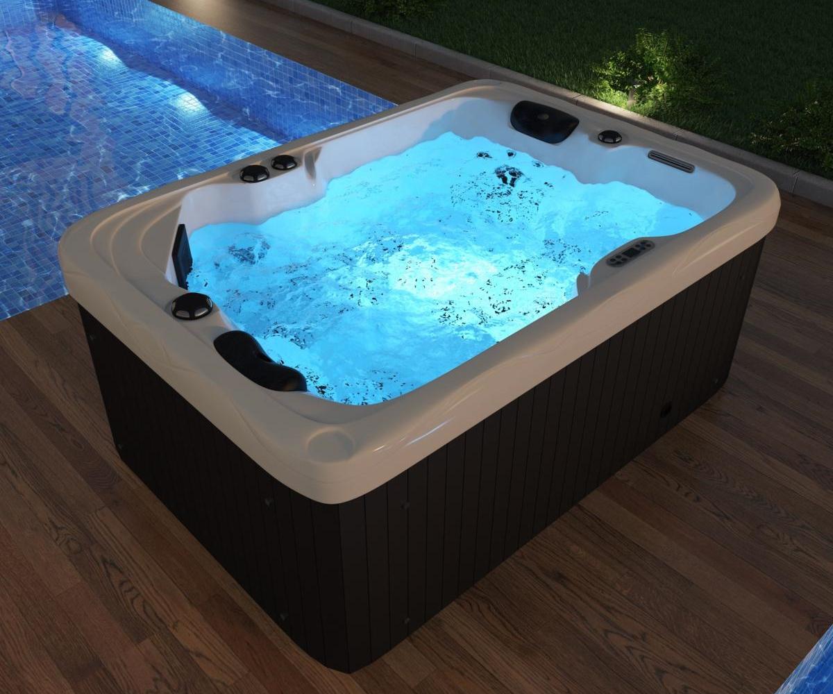 Outdoor Whirlpool Hot Tub Spa Luzern 200x200 cm mit 200 Massage Düsen +  Heizung + Ozon Desinfektion für 20 Personen