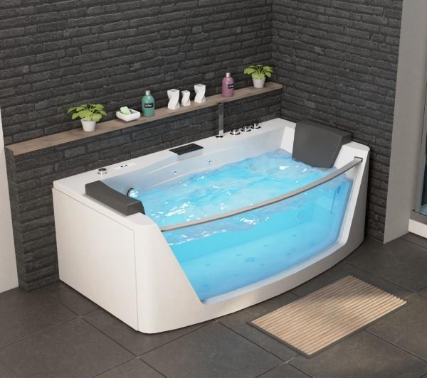 Whirlpool Badewanne Macao 180x88x59 cm mit 14 Massage Düsen mit Heizung + Ozon + LED Wasserfall + Radio Luxus Spa für Bad günstig