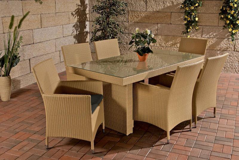 Rattan Gartenmobel Set Mit 6 Stuhlen Beige Esstisch Gartentisch 180 Cm Sitzgarnitur Supply24