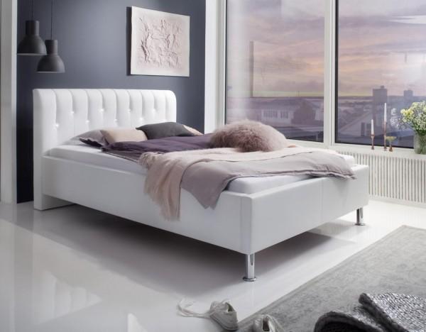 "Luxus Designer Lederbett / Polsterbett ""Rimini"" Leder Bett weiss mit Swarovski®-Kristallen im Kopfteil Doppelbett"