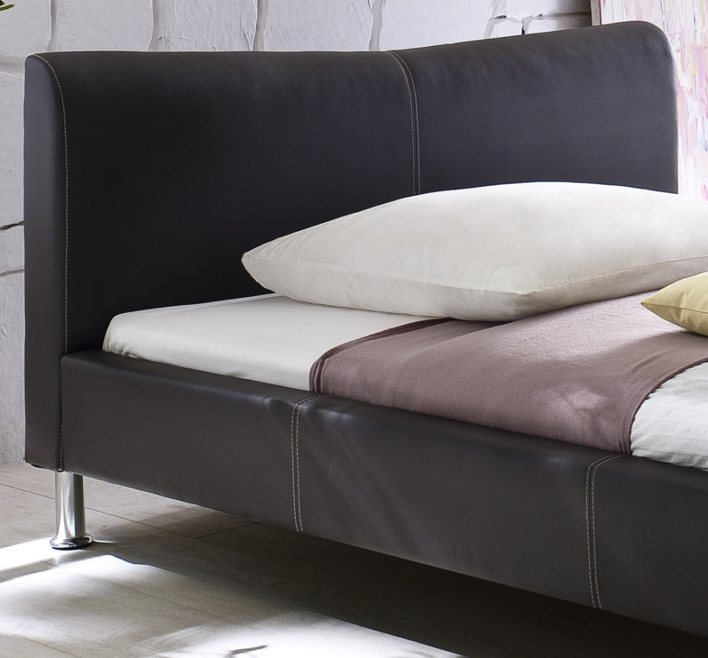 Designer Leder Bett Polsterbett Riviera Lederbett Braun Moderne Form 100x200 Cm Günstig