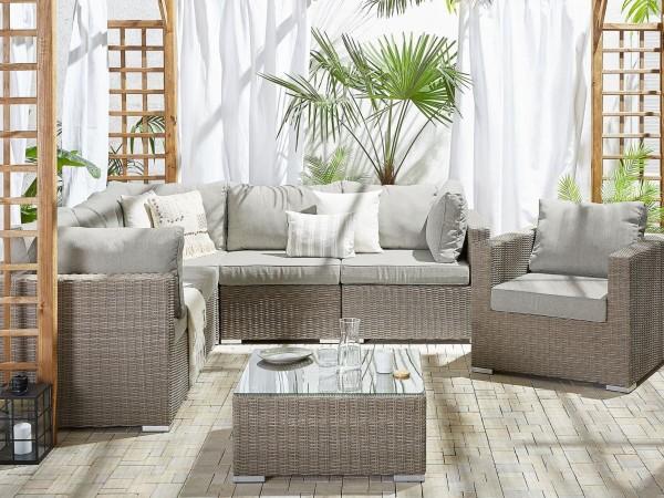 """Rattan Gartenmöbel Set """"Selina"""" Sitzgruppe Rattanlounge für Garten Terrasse Balkon Couch Rattanmöbel grau taupe"""