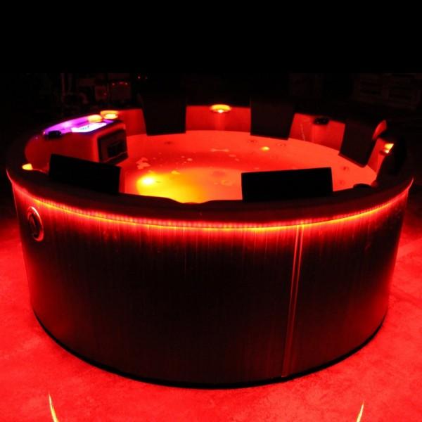 Outdoor Whirlpool Hot Tub Spa Westerland rund 195 cm mit 24 Massage Düsen + Heizung + Ozon Desinfektion für 7 Personen