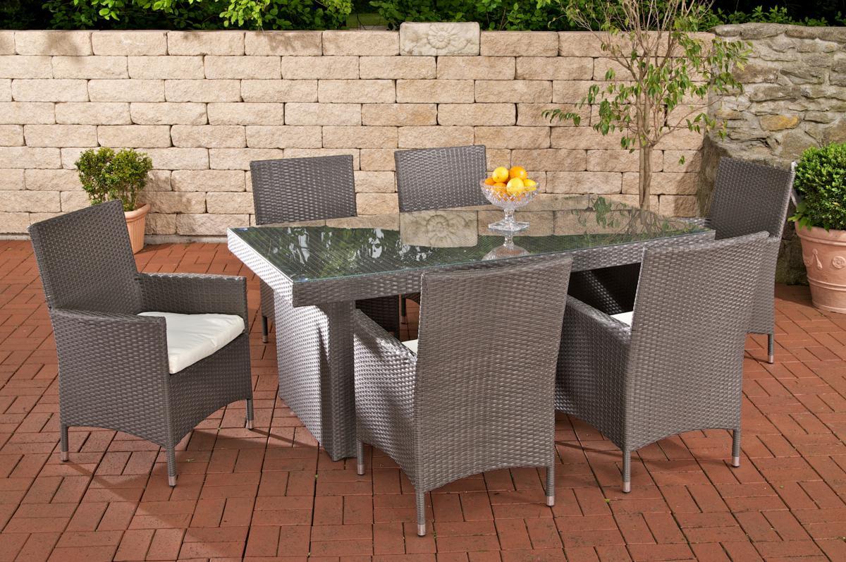 Rattan Gartenmöbel Set Atlanta Grau Sitzgarnitur Tisch Mit 6 X Stuhl Gartentisch 180 Cm Für Terrasse Garten Balkon