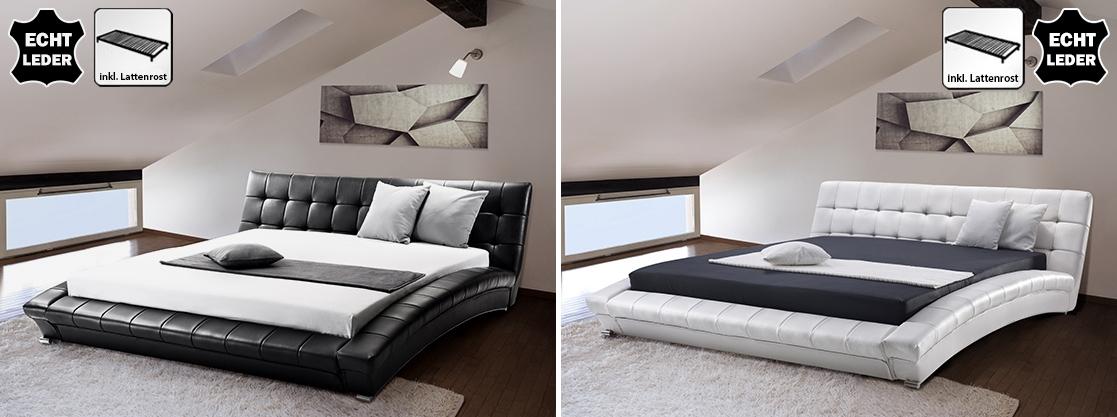 echtes lederbett leder bett schwarz wei mit lattenrost lattenrahmen supply24. Black Bedroom Furniture Sets. Home Design Ideas
