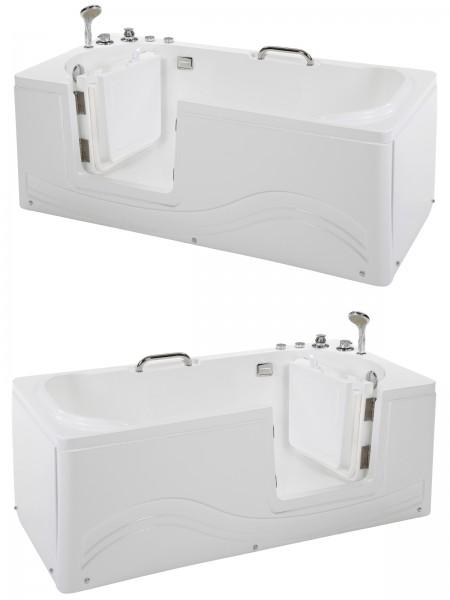 Senioren Whirlpool Badewanne 153x76 cm Linkseinstieg oder Rechtseinstieg Seniorenbadewanne 6 Massage Düsen mit Armaturen