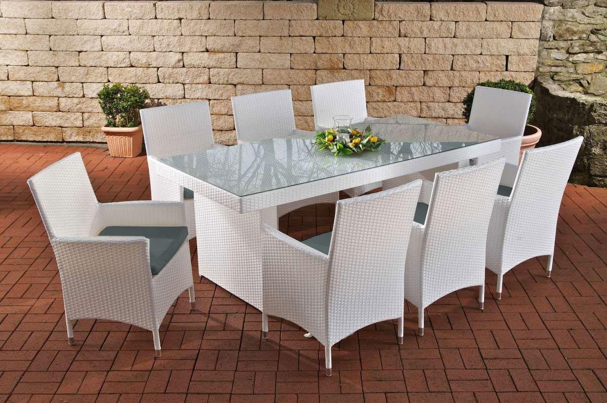 rattan garden furniture set sun rattan table 200 cm and 8 chairs for garden or terrace white. Black Bedroom Furniture Sets. Home Design Ideas