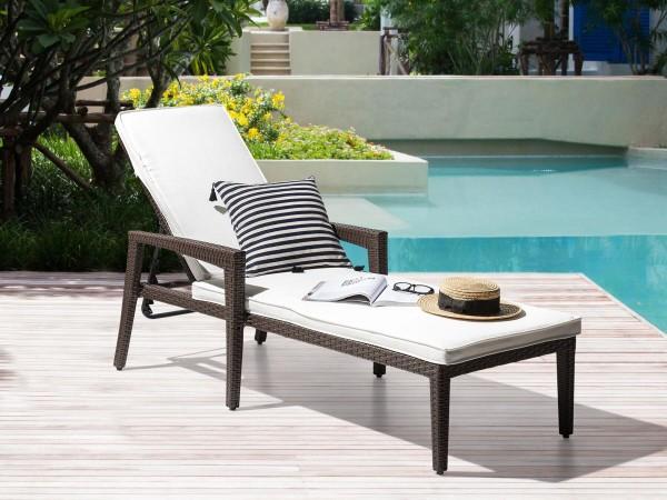 Rattan Gartenliege Pia inkl. Polsterauflage Sonnenliege für Garten Terrasse Balkon Liege Liegestuhl Gartenmöbel dunkelbraun